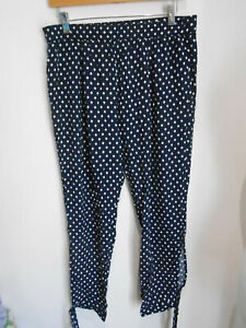 Anthropologie Saturday Sunday navy tapered tie ankle trousers M VGC casual