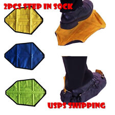 US! 2 Pcs Step in Sock Reusable One Step Hand Free Automatic Sock Shoe Covers