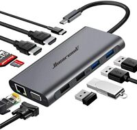 Hiearcool USB C Hub,USB-C Laptop Docking Station,11 in 1 Triple Display Type C A