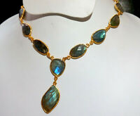 Natural Labradorite Stone Gold Plated Handmade Bezel Connector Fashion Necklace8