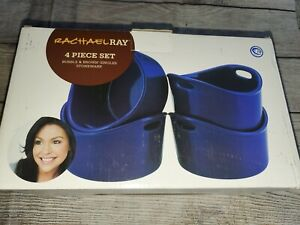 NIB Rachael Ray Stoneware 4-Piece Bubble & Brown Singles Blue Stoneware NEW