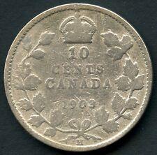 1903 'H' Canada 10 Cent Coin (2.33 Grams .925 Silver)