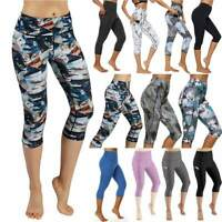 Womens Capri Yoga Leggings Pocket Gym Fitness Jogging Activewear Crop Pants