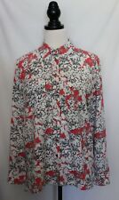 SUSSAN ~ Watermelon Pink Grey White Floral Viscose Long Sleeve Shirt 12