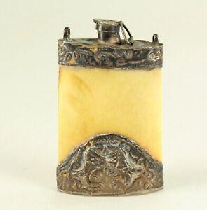 ^Antique FINE Chinese Tibetan Hand-Tooled Silver & Bone Snuff Opium Flask Bottle
