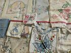 Lot 28 Vintage Embroidered Linens Tablecloths Doilies Tatting Sailors Butterfly