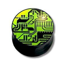Piercing Plug Orecchio Acrilico Nero, Motivo Chip Verde | 6 - 16 mm