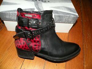 Bottines Pepe Jeans noir cuir léopard rouge bride Rock