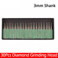 30 x Diamond coated 1.5MM Cylindrical cylinder rotary drill bit burr burrs point
