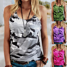 Women's Summer Loose Sling Printing Vest Casual Halter Crew Neck Beach Tank Tops