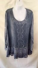 Simply Couture 1XL Tunic Top Wedgewood Blue Crochet Lace Layered Long Sleeve