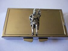 Scottish Piper w36 English Pewter On Mirrored 7 Day Pill box Compact