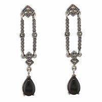 Sterling Silver Earring Marcasite and Marcasite and black agate Romanov drop
