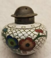 Nice Cloisonne Brass Stamped China Salt Shaker Floral and Scale Pattern