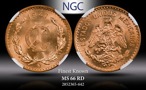 1947Mo MEXICO 1 CENTAVO NGC MS 66RD FINEST KNOWN