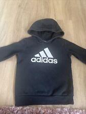 Boys Age 7-8 Years Black Adidas Sports Essential Hooded Sweatshirt  Hoody