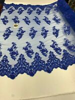 French Embroidered Beaded Mesh Lace Floral(Royal Blue)Beads Flowers With Sequins