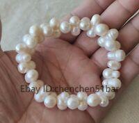 kultivierte weiße Knochen barocke Süßwasserperle Elastisches Armband 8 Zoll