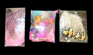 3 x Fly Tying Materials Dyed Feathers Various Loud Colours Guinea Fowl and more