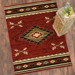 Southwestern Lodge Cabin Rustic Tribal Arrow Red Area Rug **FREE SHIPPING**