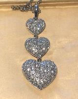 Vintage 1980s Swarovski Crystal Triple Heart Pendant Necklace