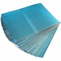 48x Metallic Corrugated Cardboard Sheets Paper for DIY Crafts Blue 8.5 x 11""