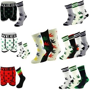 Boxer Shorts Socks Set Stay Smokin Ganja Weed Leaf Rasta Lion Socks - UK 6-11