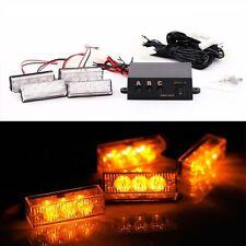 4 X 3 LED Amber/Yellow Car Strobe Flash Light Emergency 3 Flashing Modes 12V
