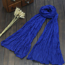 Women Girl Cotton Scarf Linen Mix Crinkle Long Pure Color Scarf Wrap Shawl Stole