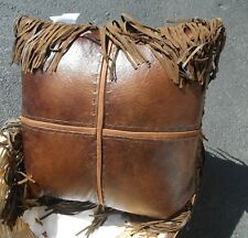 WESTERN PILLOW WESTERN HOME OFFICE DECOR SPAGETTI FRINGE BROWN/TAN LEATHER LOOK