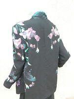 Stylestalker Jacket Black Floral Draped Open Front Blazer  Sz L