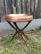 Vintage Boho Copper Top Folding Carved Leg Table Planter Stand