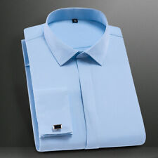 Mens Dress Shirts Long Sleeves French Cuff Business Work Slim Multicolor Shirts