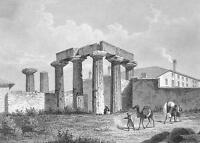 GREECE Temple on Island of Corinth - 1860 SCARCE Engraving Print