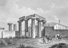 GREECE Temple on Island of Corinth - 1860 SCARCE Engraving Print