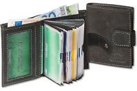 Woodland® Kompakte Geldbörse mit 18 Kreditkartentaschen aus Leder in Anthrazit