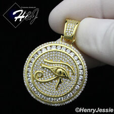 MEN 925 STERLING SILVER LAB DIAMOND ICED EYE OF HORUS GOLD ROUND PENDANT*GP204