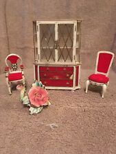 miniature dollhouse furniture 1/12 scale Dining Room Hutch And 2 Chairs