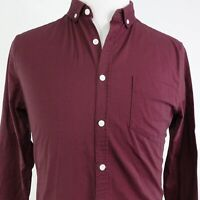 NWT ASOS SOLID BURGUNDY LONG SLEEVE BUTTON DOWN SHIRT MENS SIZE M