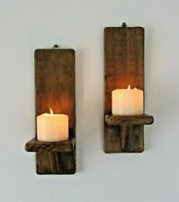 Pair of 30cm recycled wood wall sconces led candle holders