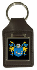 Gobby Family Crest Surname Coat Of Arms Brown Leather Keyring Engraved