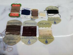 8 Vintage Cards Sewing Mending Yarn Thread Wool Chadwick's Barbour's Karo