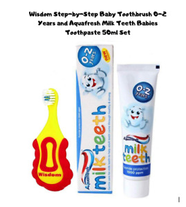 Baby Toothbrush and Aquafresh Milk Teeth Babies Toothpaste 50ml Set   0-2 Years