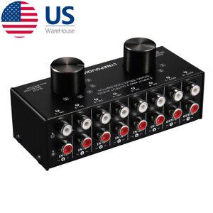 6 Way Composite L/R RCA Audio Switcher Box Selector Splitter Hub Distribution