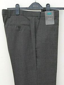 New Marks and Spencer Gents Trousers Wool Rich Blend Regular Grey Size W34 L33