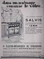 PUBLICITÉ ÉLECTRO MÉCANIQUES DE STRASBOURG CUISINIÈRE ÉLECTRIQUE SALVIS