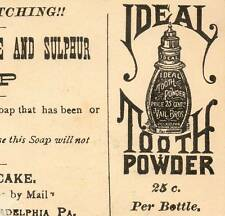 Ideal Tooth Powder bottle Quinine & Sulphur Soap Advertisng Trade Card