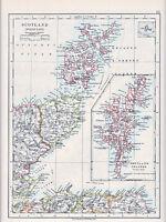 1912 MAP ~ SCOTLAND NORTH EAST ~ SHETLAND ISLANDS  SUTHERLAND CAITHNESS ETC