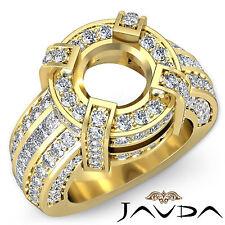 Round Semi Mount Diamond Pave Engagement Designer Ring 18k Yellow Gold 2.9 Ct.