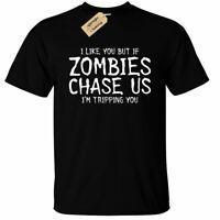 KIDS BOYS GIRLS If Zombies Chase Us T-Shirt funny friends gift friendship joke